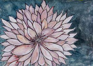 Chrysanthemum on Blue - Painting