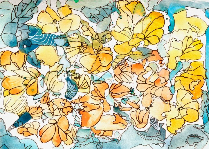 Buttercups - Floral Abstract - Donoghue Design- Wall Art