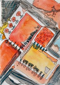 Rooftop Gardens - Abstract watercolo