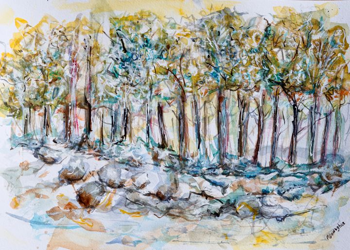 Tree line in blue - watercolor paint - Donoghue Design- Wall Art