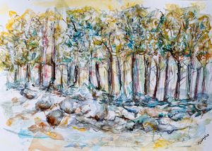 Tree line in blue - watercolor paint