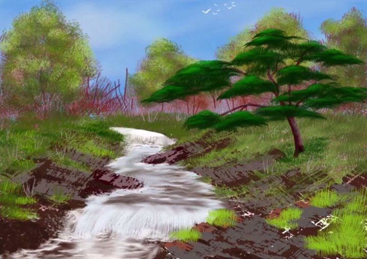 stream in the woods - Alex Fisher Nature creation