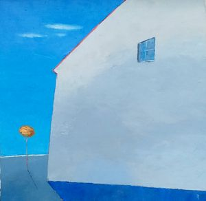 Blue Landscape With House - Kestutis Jauniskis