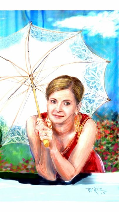 Girl with umbrella - Artist at work