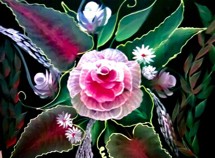 One stroke flower painting - Hajar's art