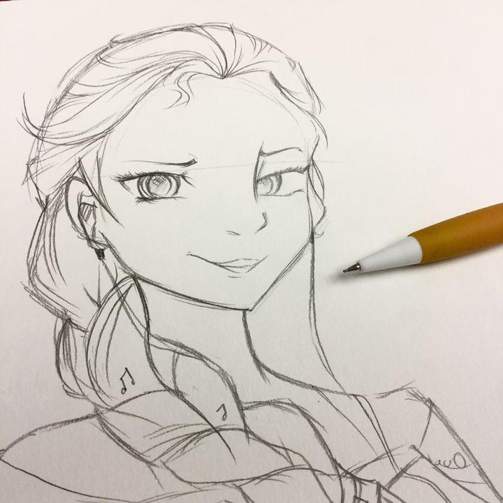 Musical Elsa Pencil Sketch - AnimeMoo
