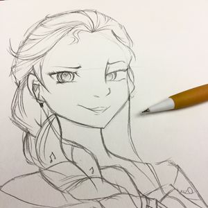 Musical Elsa Pencil Sketch