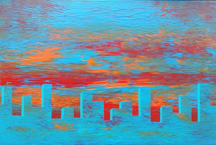 Glass City at Sunset - JG Art