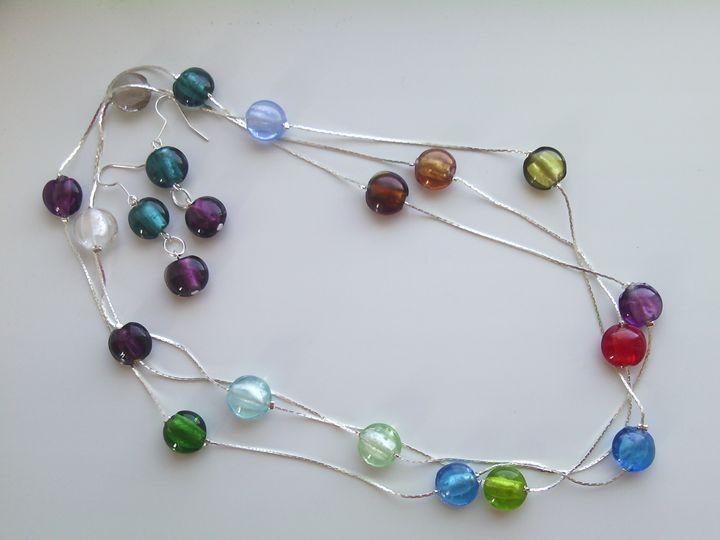 Lampwork beads set with silver chain - www.handmade-jewelries.eu