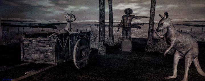 Aboriginal man and Animals - Art by Al Peek