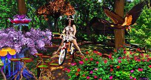 girl on bike in garden - Art by Al Peek