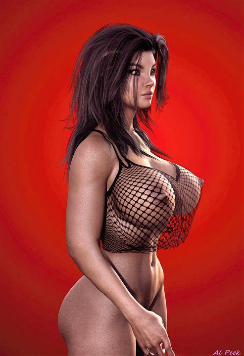heißes Model halb nackt - digital art