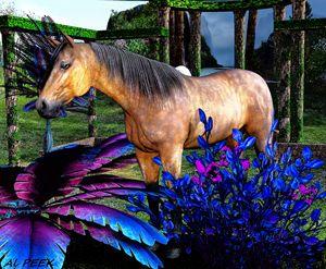 άλογο στον κήπο -- Horse in Garden - digital art