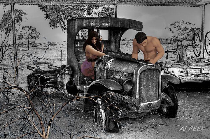 старий автомобіль-old car2 - Art by Al Peek