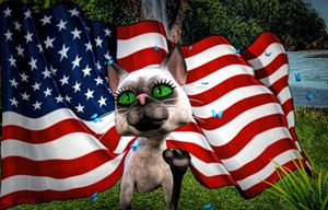 silly cat playing with flag - digital art