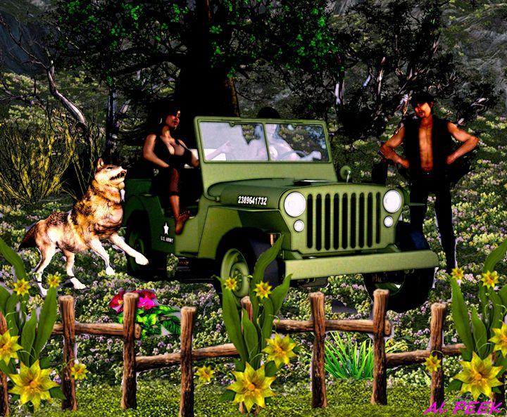 Jeep in field of flowers - digital art