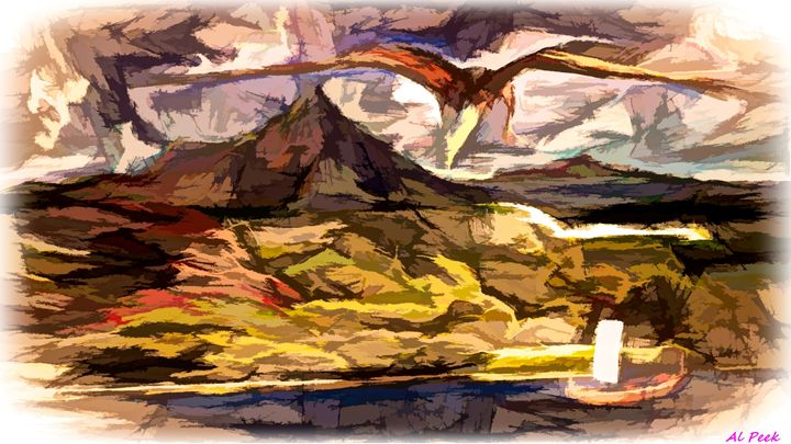painting eagle over river - Art by Al Peek