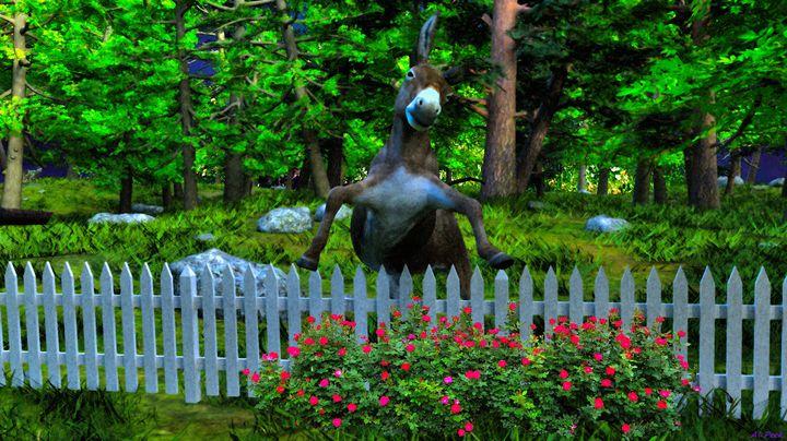 Donkey on Fence - Art by Al Peek