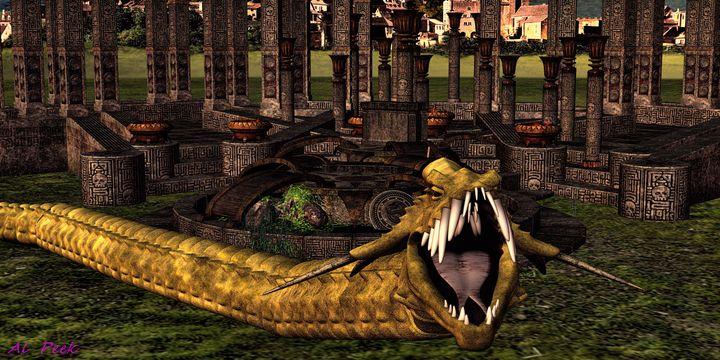 Golden Dragon Snake - Art by Al Peek