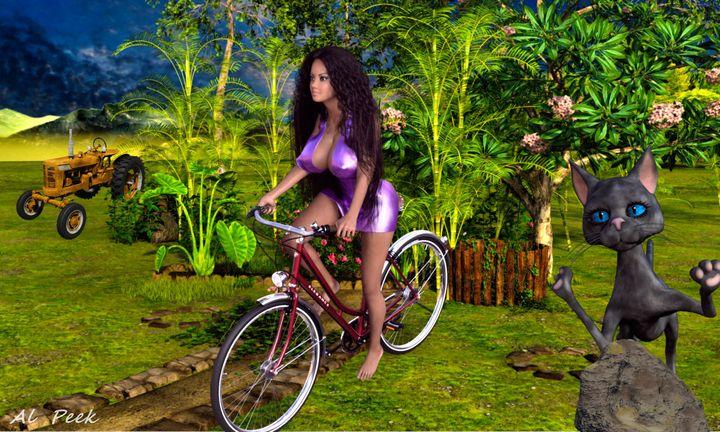 Girl on Bike - Art by Al Peek
