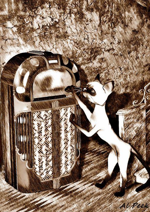 Jukebox Cat - Art by Al Peek