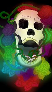 A skull and roses