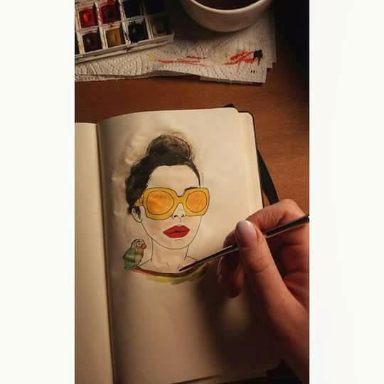 A u r e t a and the green bird - Lidia's Art and Drawings