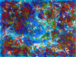 "Red,Blue, Yellow Abstract, 18""x24"""