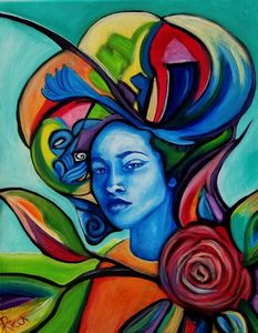 Lady in Blue with Red Rose