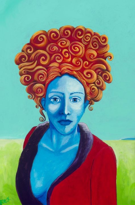 Red and Blue Lady - KDeniseArt