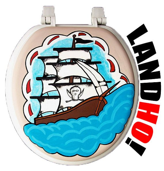 Pirate Ship Hand Painted Toilet Seat - Debbie Is Adopted