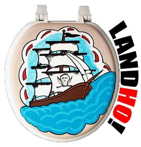Pirate Ship Hand Painted Toilet Seat