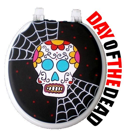 Day of the Dead Toilet Seat - Debbie Is Adopted