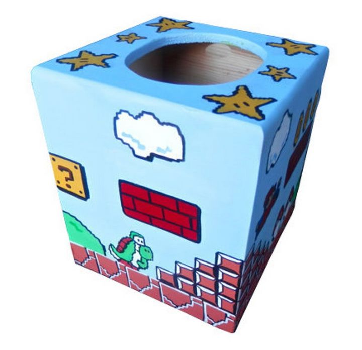 Mario Hand Painted Tissue Box - Debbie Is Adopted