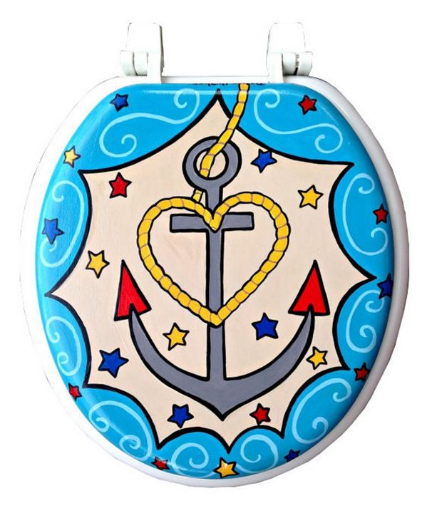 Anchor Hand Painted Toilet Seat - Debbie Is Adopted