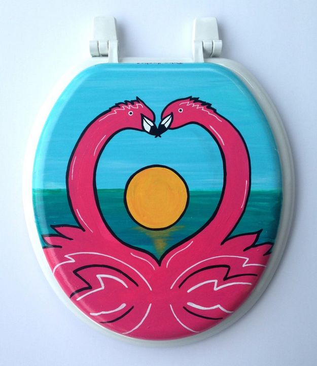 Flamingos In Love Toilet Seat - Debbie Is Adopted