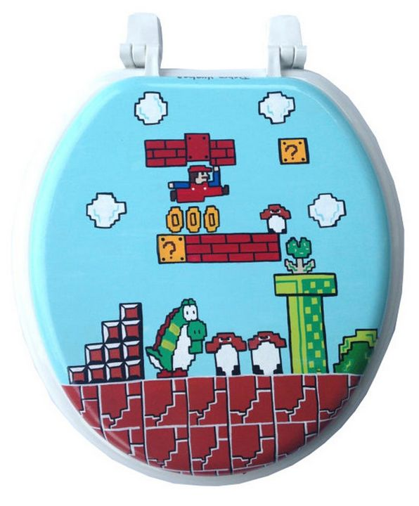 Mario Hand Painted Toilet Seat - Debbie Is Adopted