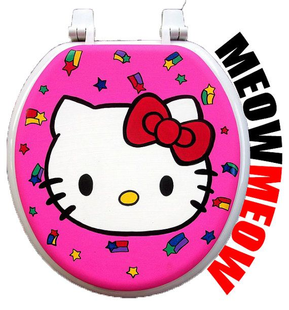 Hello Kitty Hand Painted Toilet Seat - Debbie Is Adopted