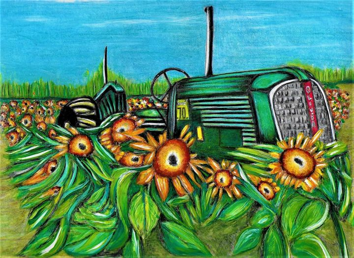 Sunflowers and Tractor - Posi Pics