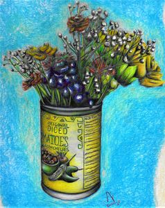 Can With Wild Flowers