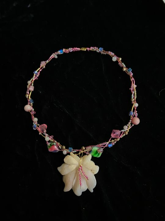 Pink Opal Carved Floral Necklace - SonSource Arts