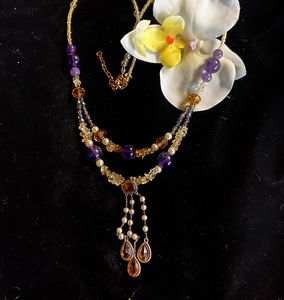 Citrine, Pearl, Amethyst Necklace