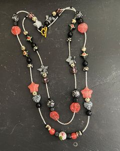 Double Time Necklace Coral & Black