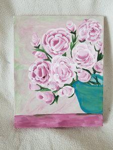 Pink Roses in Teal Vase