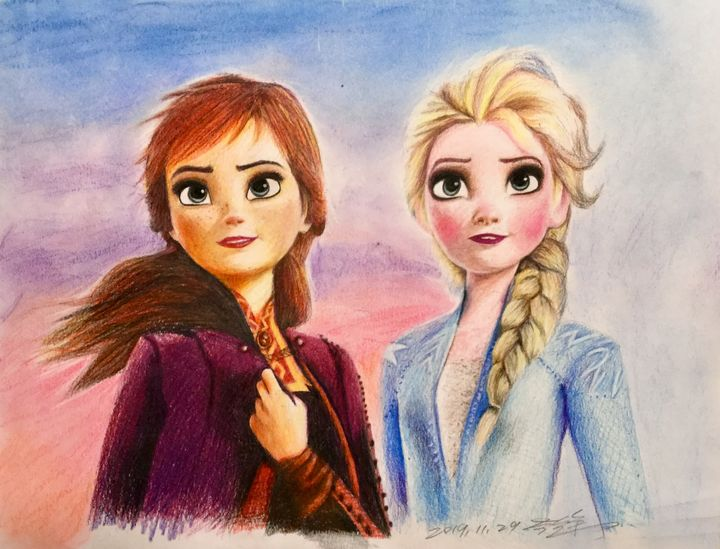 Colored pencil Frozen sisters - Ying's art shop