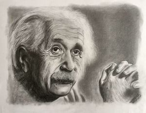 Pencil drawing Albert Einstein