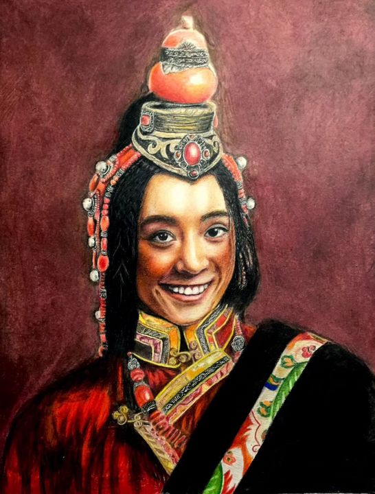 Colored pencil a tibetan girl - Ying's art shop
