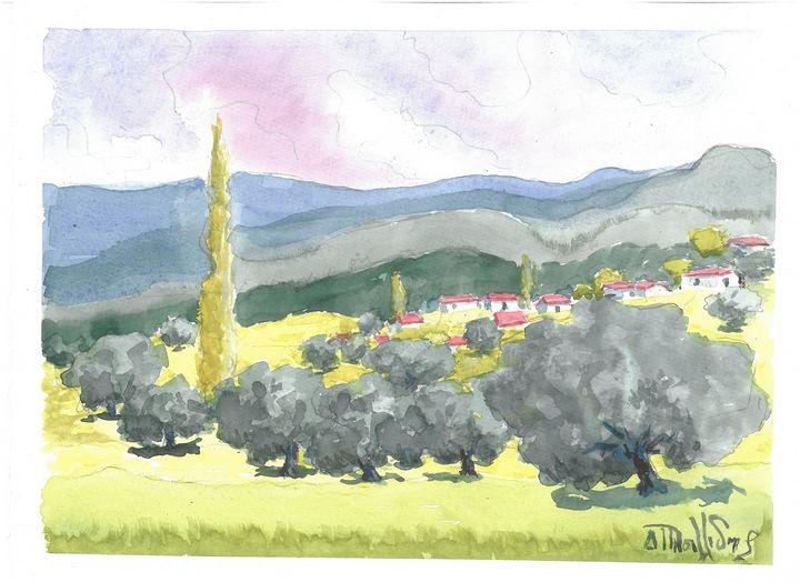 W1002 - Landscape in Cyprus - Art in Cyprus by Doloros Pitsillides
