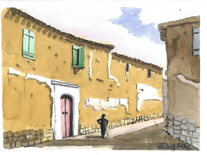 W1025 - Old Village in Cyprus - Art in Cyprus by Doloros Pitsillides