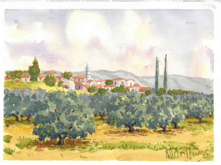 W1026 - Village next to olive field - Art in Cyprus by Doloros Pitsillides